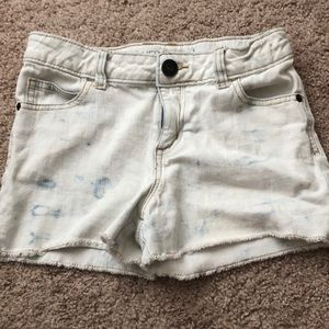 White with Light Blue Tye Dye Jean Shorts